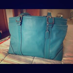 Multifunctional Teal Leather Coach Tote.